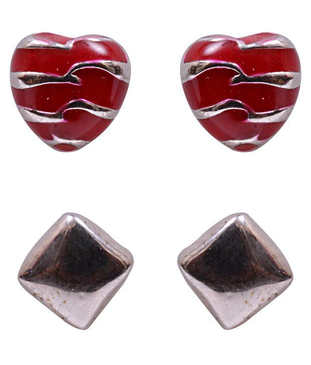 Trendy Baubles Square & Red Heart Studs Combo