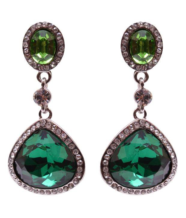 Trendy Baubles Emerald Glass & Diamante Earrings