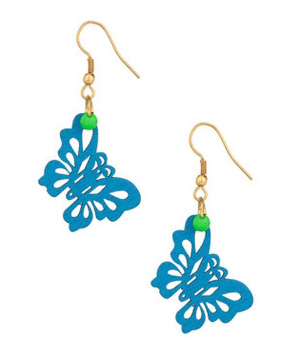 Voylla Blue Butterfly Themed Earrings