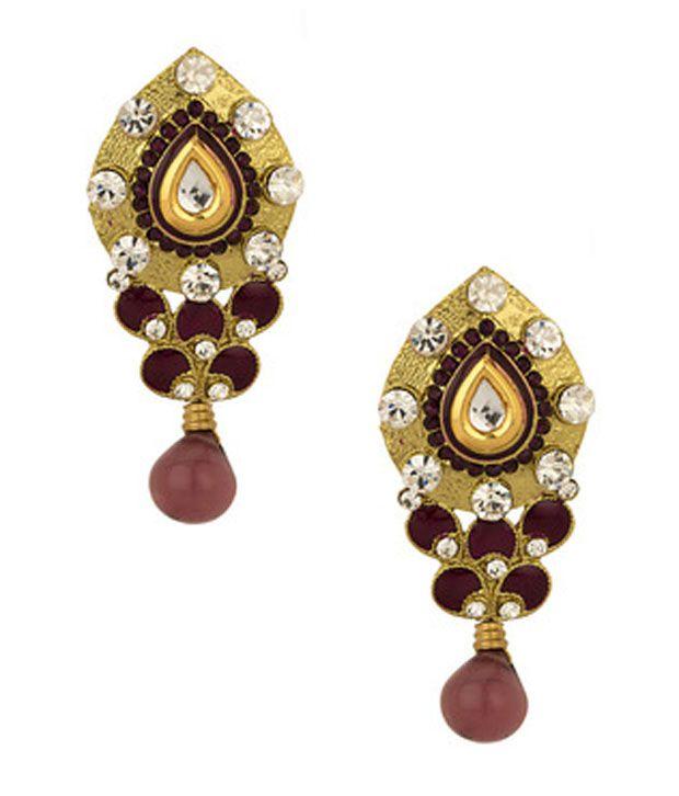 Voylla Gold Plated Purple Meenakari Earrings Studded With Cz Stones