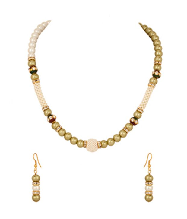 Voylla Necklace Set with Pearl Studded Round Dholki; Olive Green; White Pearl
