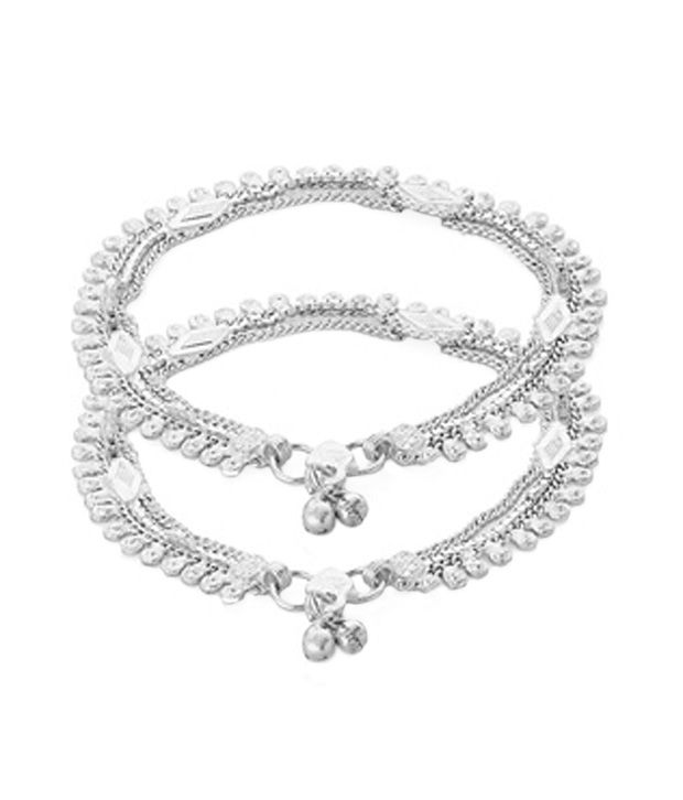 Voylla Metal Alloy Anklet Pair With Silver Plating