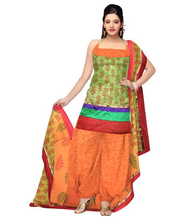 Unnati Silks Unstitched Neon Green Kota Doria Tissue Silk Printed Punjabi Suit