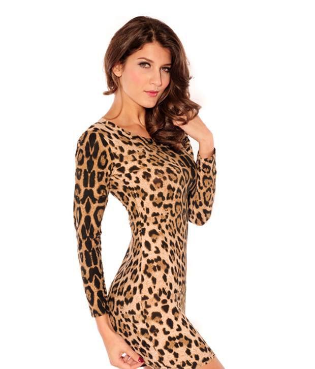Yogalz Brown Leopard Print Dress - Buy Yogalz Brown Leopard Print ... 30ae86818