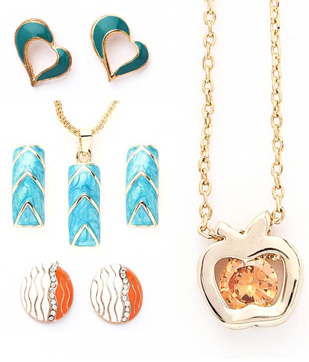 Vendee Fashion Two Pendants with Two Earrings Jewelry combo 609