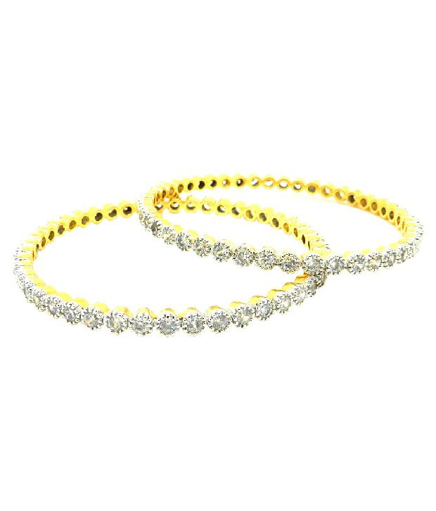 Expressions Set of Two Golden Dazzle Bangles