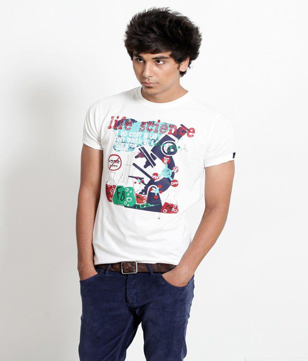 Probase White Life Science Printed T Shirt
