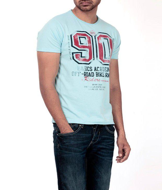 Basics 029 Cool Light Blue Printed T Shirt
