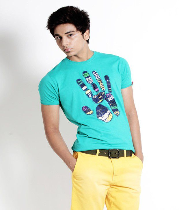 Probase Stylish Green Printed T Shirt