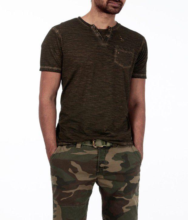Basics 029 Cool Khaki Henley T Shirt