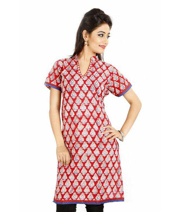 Jaipur Kurtis Pure Cotton Stylish Red & White Kurti