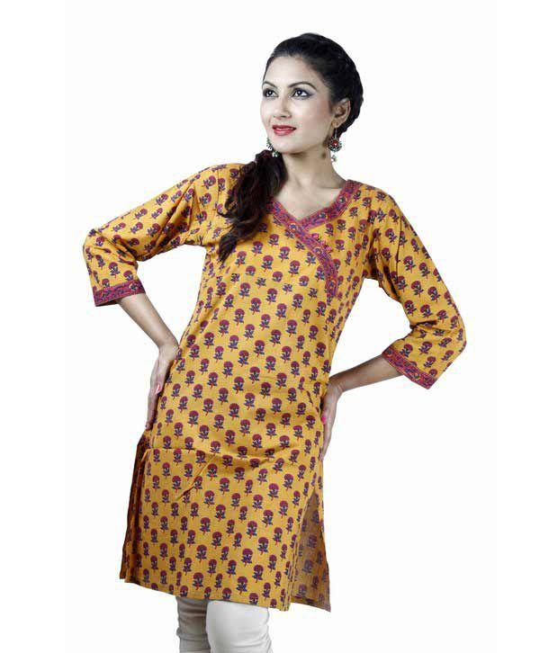 Jaipur Kurtis Pure Cotton Yellow & Pink Kurti