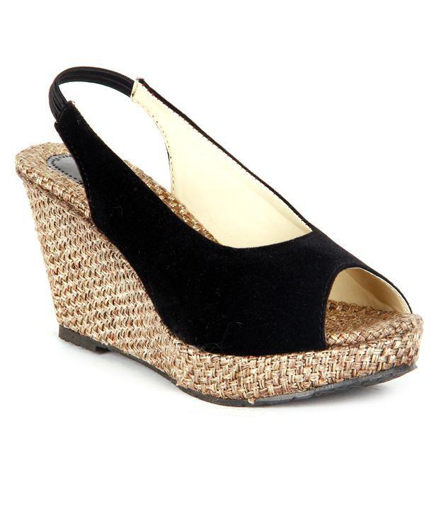 Feel It Trendy Black Wedge Heel Sandals Price in India- Buy Feel ...