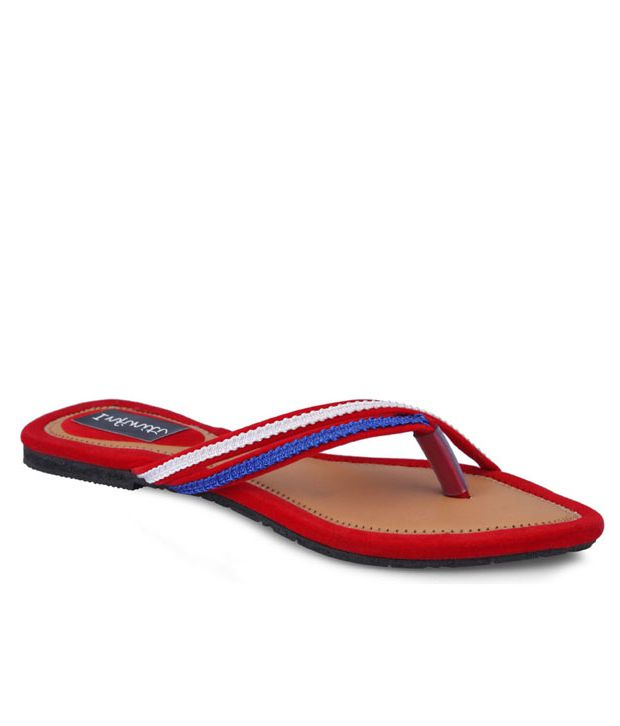 Infinity Classy Synthetic Red Flat Slip-on