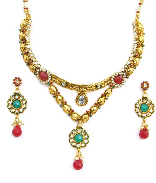 Ratnakar Floral Motif Stone Necklace Set