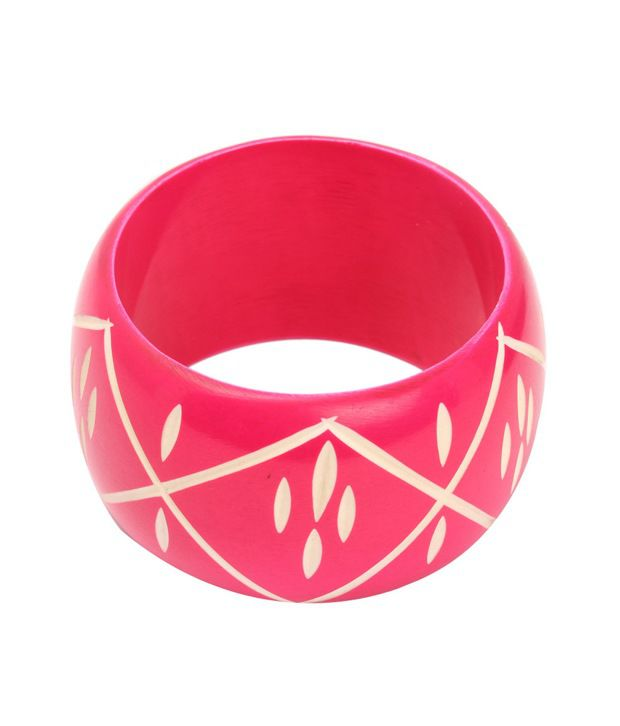 Zovon Magenta Plastic Bangle with Carved Pattern