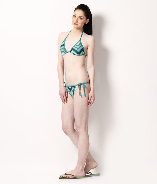 Secret 18 Green Zig Zag Printed Cotton Lycra Bikini Set