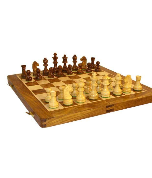 Delightful Kaykay Wooden Chess Board 18 Inch ...
