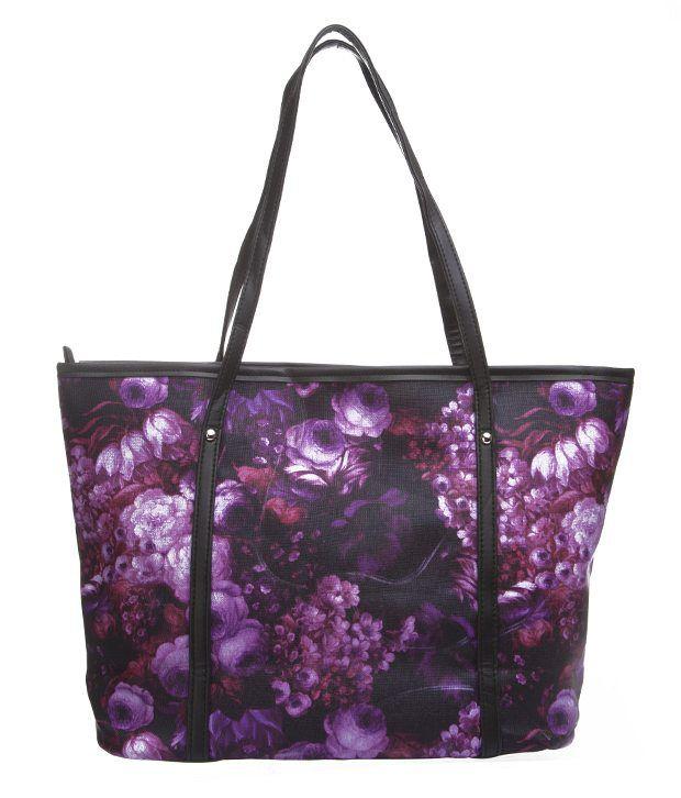Ananta Purple Floral Print Tote Bag