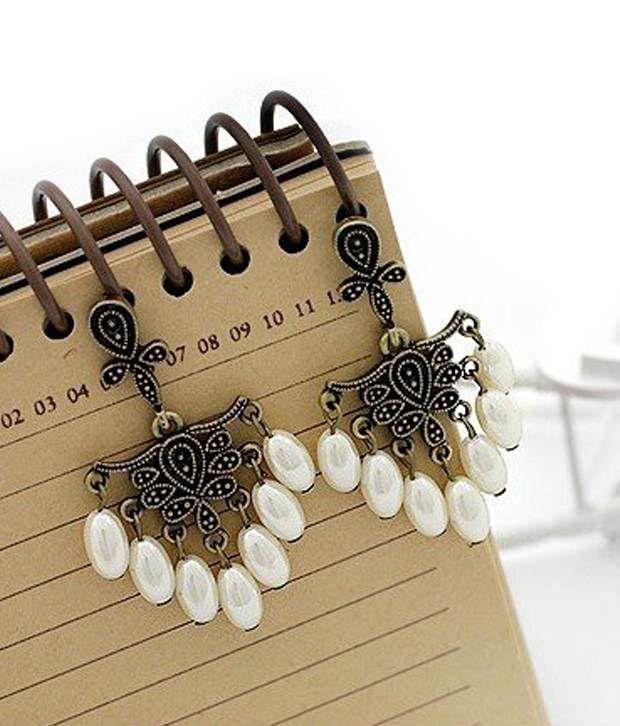 Crunchy Fashions Retro Sweet Pearl Tassels Earrings