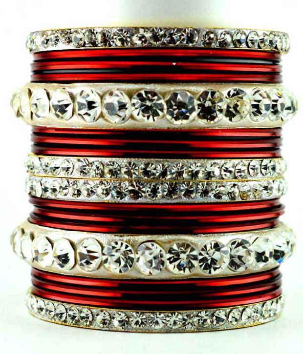 Vidhya Kangan Brass Red Exclusive Metal Set Bangle