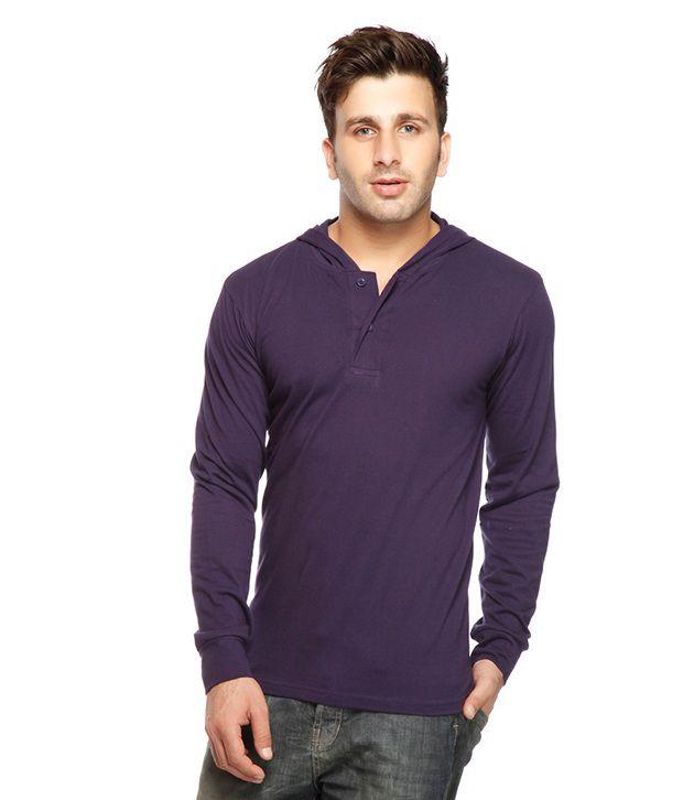 Gritstones Purple Henley Hooded T Shirt