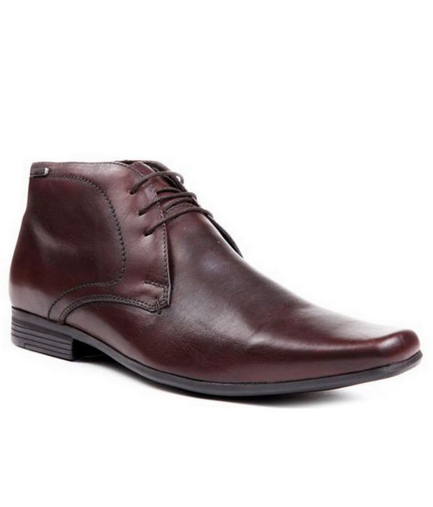 Red Tape Brown Leather Ankle Length Boots