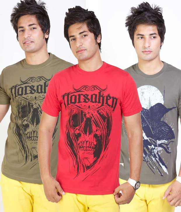 Monarch Pack Of 3 Cool Graphic Printed T-Shirts