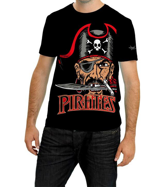 Grasshopr Pirates Design T-Shirt- Black