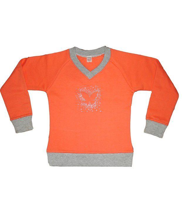 Goodway Girls Orange Sweat Shirt For Kids