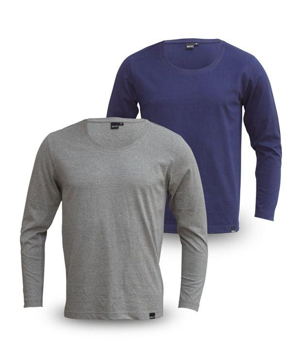 Rigo Pack Of Smart Grey-Navy Full Sleeve T Shirts