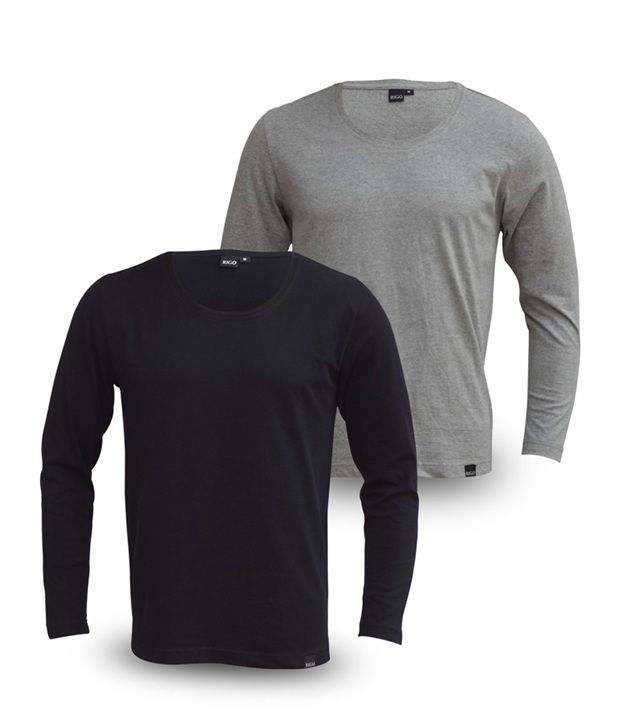 Rigo Pack Of Trendy Black-Grey Full Sleeve T Shirts