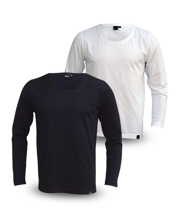 Rigo Pack Of Trendy Black-White Full Sleeve T Shirts