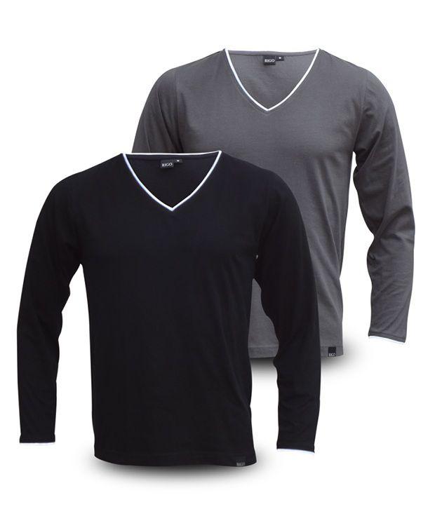 Rigo Pack Of Grey-Black V-Neck Full Sleeve T Shirts