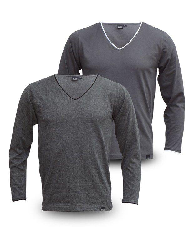 Rigo Pack Of Grey V-Neck Full Sleeve T Shirts