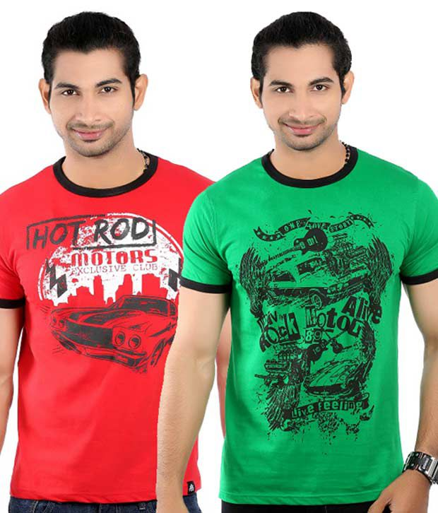 Tekki Pack of 2 Green and Red Round Neck T Shirts