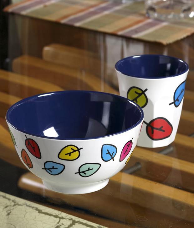 Aapno Rajasthan Printed Bowl and Tumbler Melamine Set