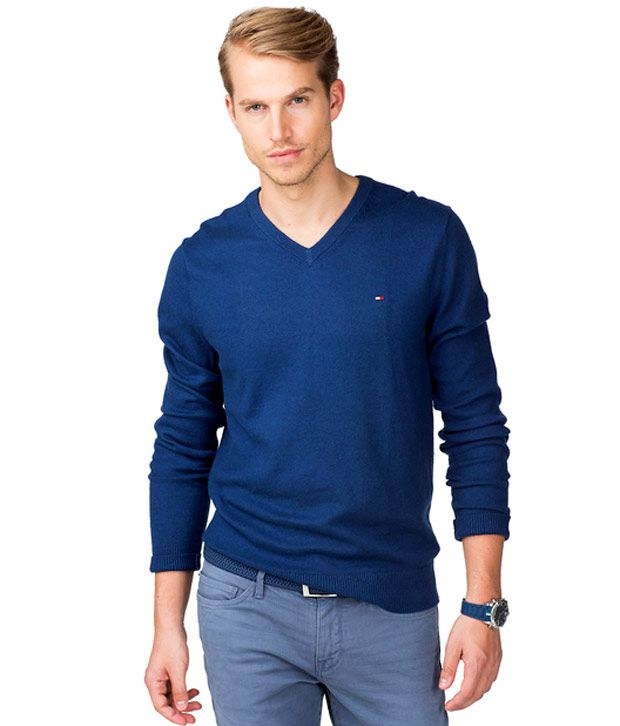 New Tommy Hilfiger Mens Pacific V,Neck Sweater (Blue)