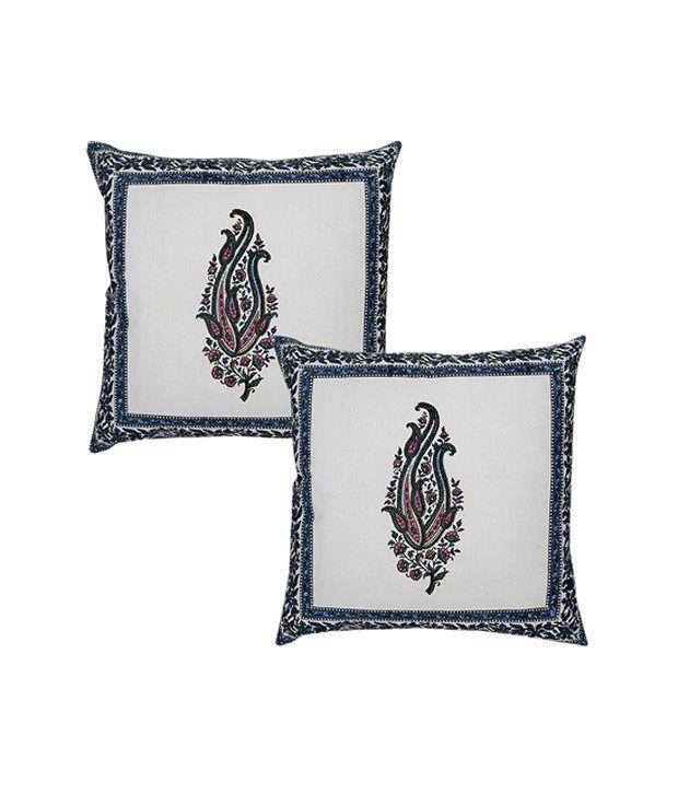 Rajrang  Hand Block Printed Cushion Covers - (17 X 17 Inches) (Set of 2 Pcs)