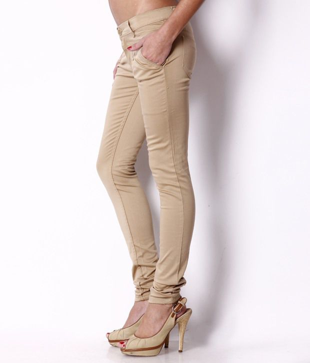 Fashion Cult Beige Cotton Lycra Trousers