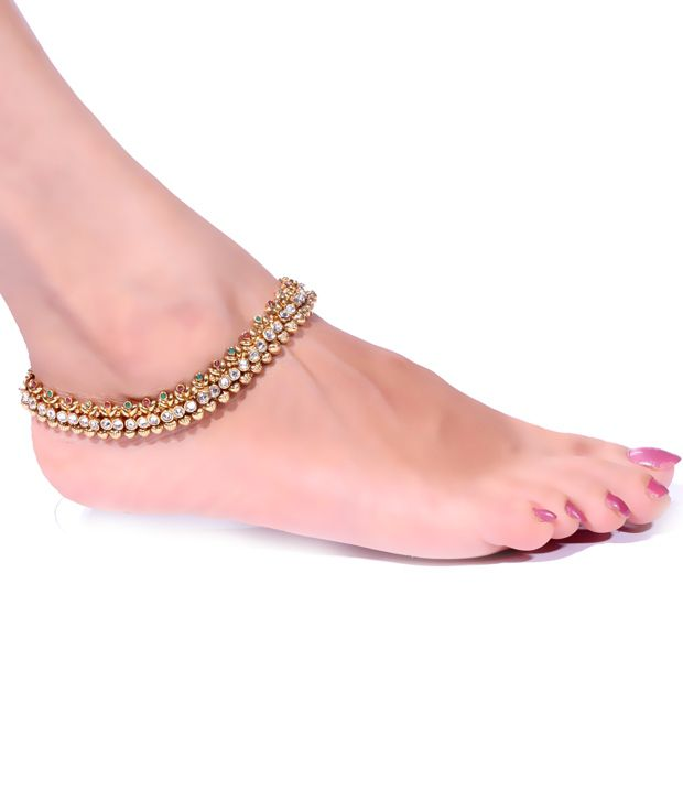 Antique Impressions Stylish Golden Anklets