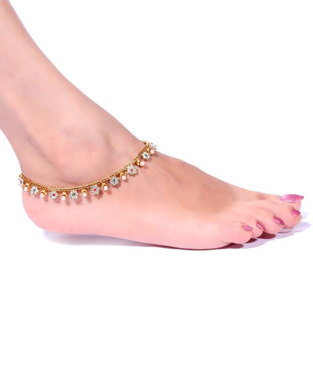 Antique Impressions Pair of Floral Design Stone Studded Anklets