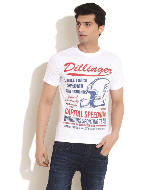 Dillinger White Capital Speedway T-Shirt