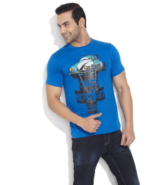 Elaborado Blue Abstract Car Graphic T- Shirt