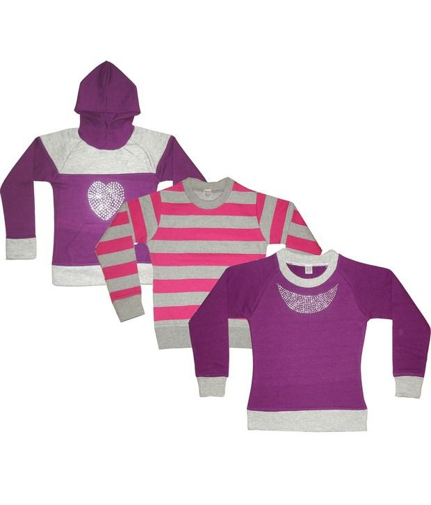 Goodway Pack Of 3 Girls Tees + Yarn Dyed Sweatshirt + Hooded Pull Over Combo-14
