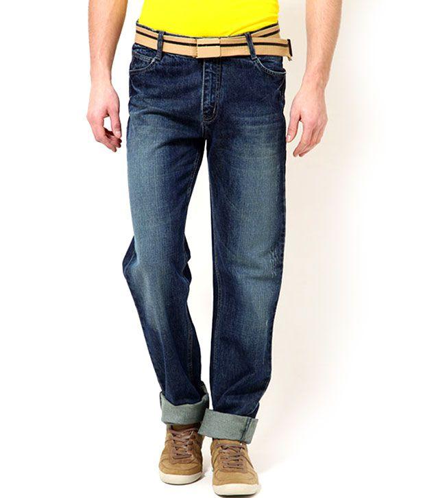 Mushky Washed Dark Blue Slim Fit Jeans for Men
