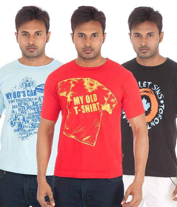 TSG Escape Pack of 3 Stylish Cotton T Shirts
