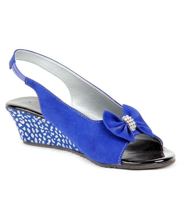 Do Bhai-ShoeBazaar Velvety Blue Heel Sandals