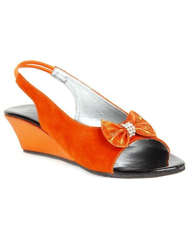 Do Bhai-ShoeBazaar Velvety Orange Heel Sandals