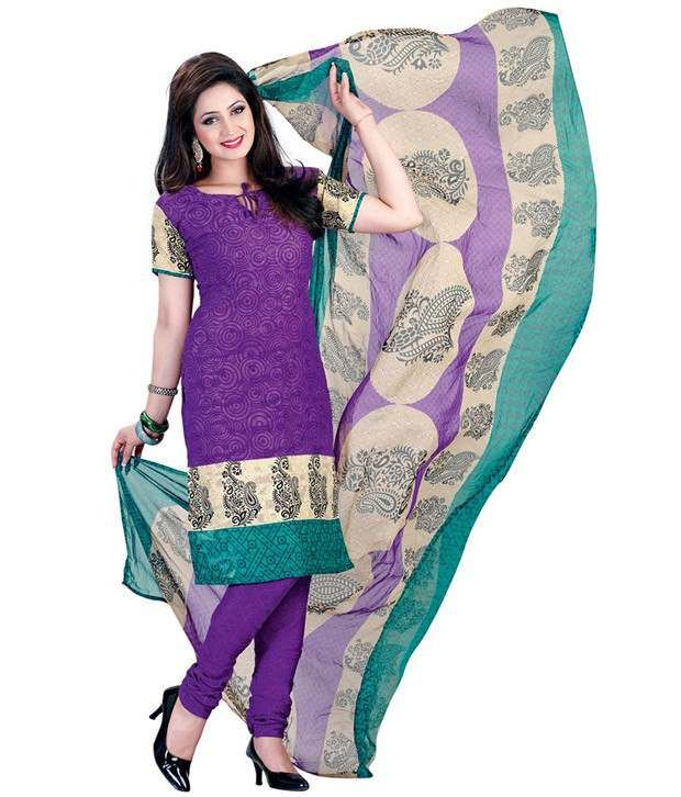 Aabha Purple Faux Georgette Unstitched Dress Material